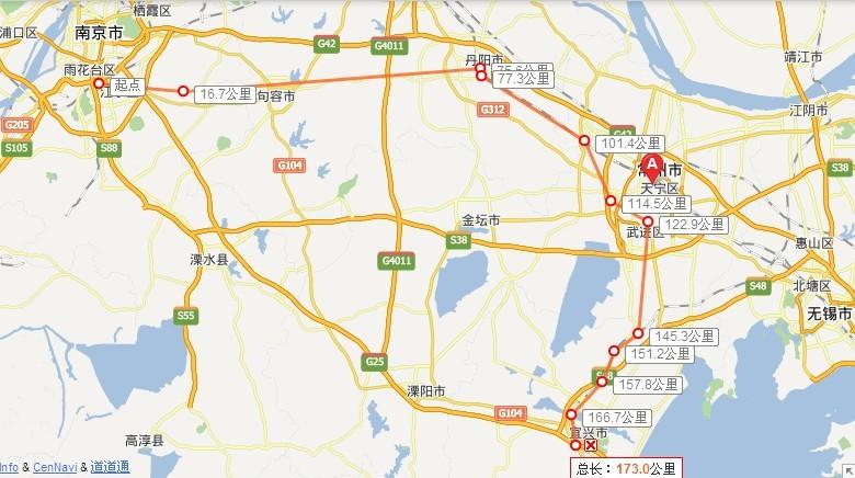 宜兴到镇江地图