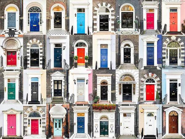 他将各式各样的门窗依照国家和地域的不同分类,然后进行拼贴,呈现